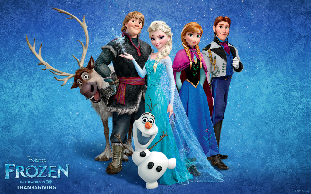 From left to right: Sven, Kristoff (Jonathan Groff), Olaf (Josh Gad), Elsa: Anna's older sister and heir to the throne of Arendelle (Idina Menzel), Princess Anna of Arendelle (Kristen Bell), and Prince Hans of the Southern Isles (Santino Fontana).